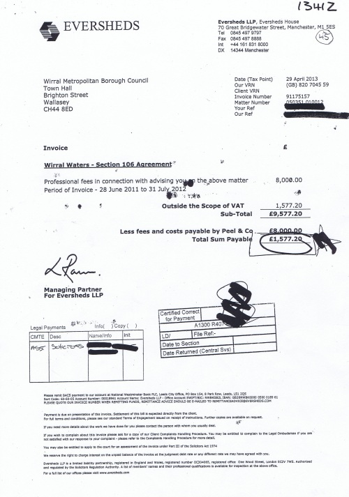 Wirral Waters section 106 agreement invoice Wirral Council 29th April 2013 £9577 20p