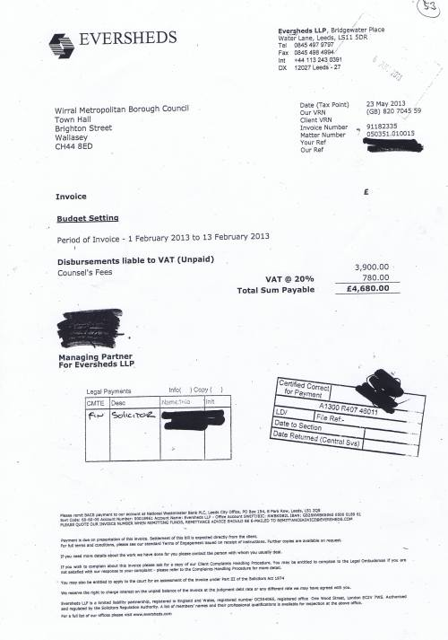 Budget setting legal costs £4680 00p Counsels fees May 2013