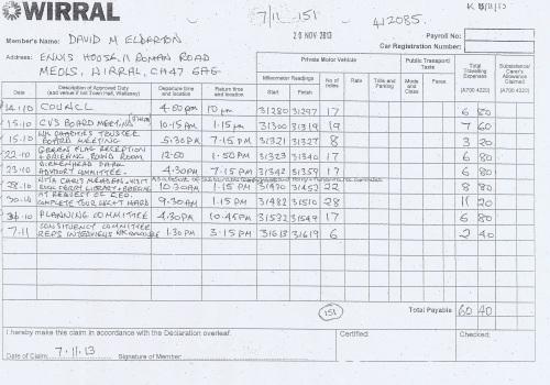 Cllr David Elderton expenses claim 2013 page 1 of 1