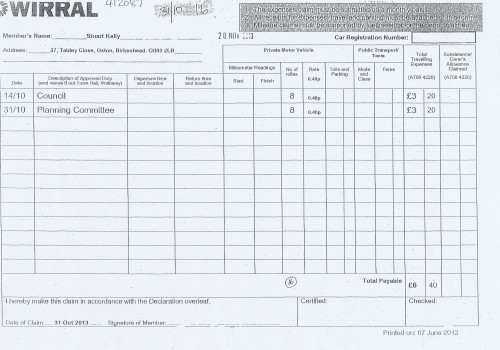 Cllr Stuart Kelly expenses claim 2013 page 1 of 1