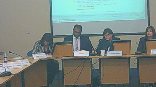 Coordinating Committee 12th November 2014 Childrens Centre call in L to R Shirley Hudspeth,  Surjit Tour, Cllr Moira McLaughlin (Chair) &  Michelle