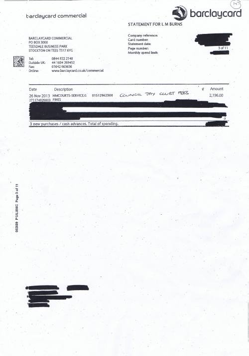 Council Tax court cases Barclaycard invoice Wirral Council November 2013