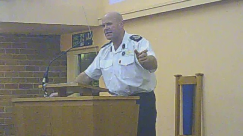 Dan Stephens Chief Fire Officer, Merseyside Fire and Rescue Service at Greasby Methodist Church Hall, Greasby Road, Greasby on 10th November 2014 for consultation meeting on closure of Upton and West Kirby fire stations and merger at Greasby