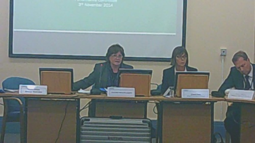 Families and Wellbeing Policy and Performance Committee  Wirral Council  3rd November 2014   L to R Legal adviser who was missing, Cllr Moira McLaughlin (Chair), Clare Fish and Graham Hodkinson