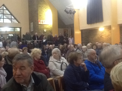 Greasby Methodist Church Hall 10th Nov 2014 Large numbers of the public at a Merseyside Fire and Rescue Service consultation meeting to discuss fire station closure plans at West Kirby and Upton and new fire station plan at Greasby