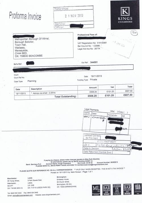 Ruth Stockley Invoice 8 Page 1 of 1 Kings Chambers 19th November 2013 email advice planning £607 50p
