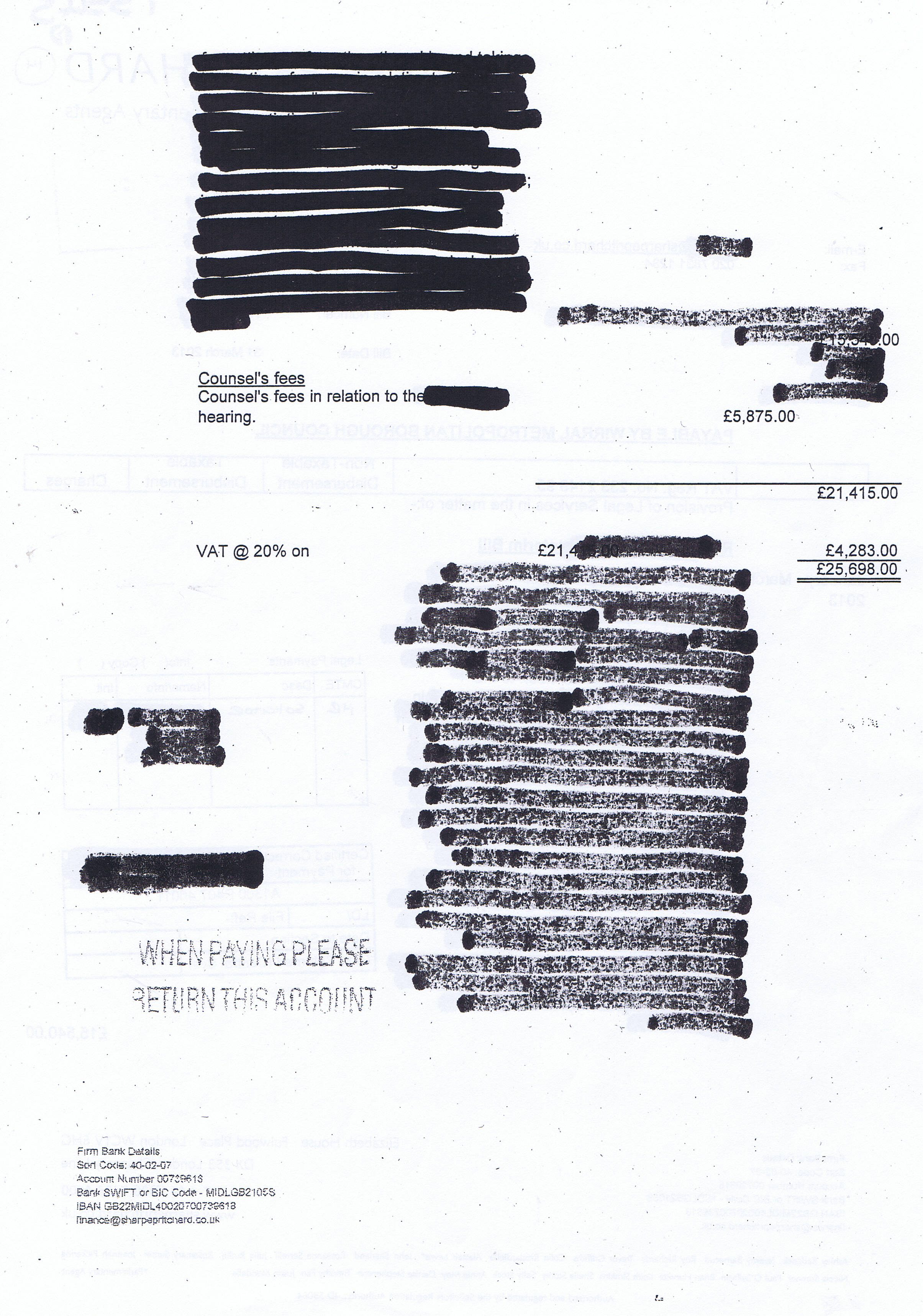 word with letters do you want to what 10 redacted invoices 6 on 25698 | sharpe pritchard invoice 1 page 2 of 2 2nd may 2013 c2a325698 legal services hr wirral council