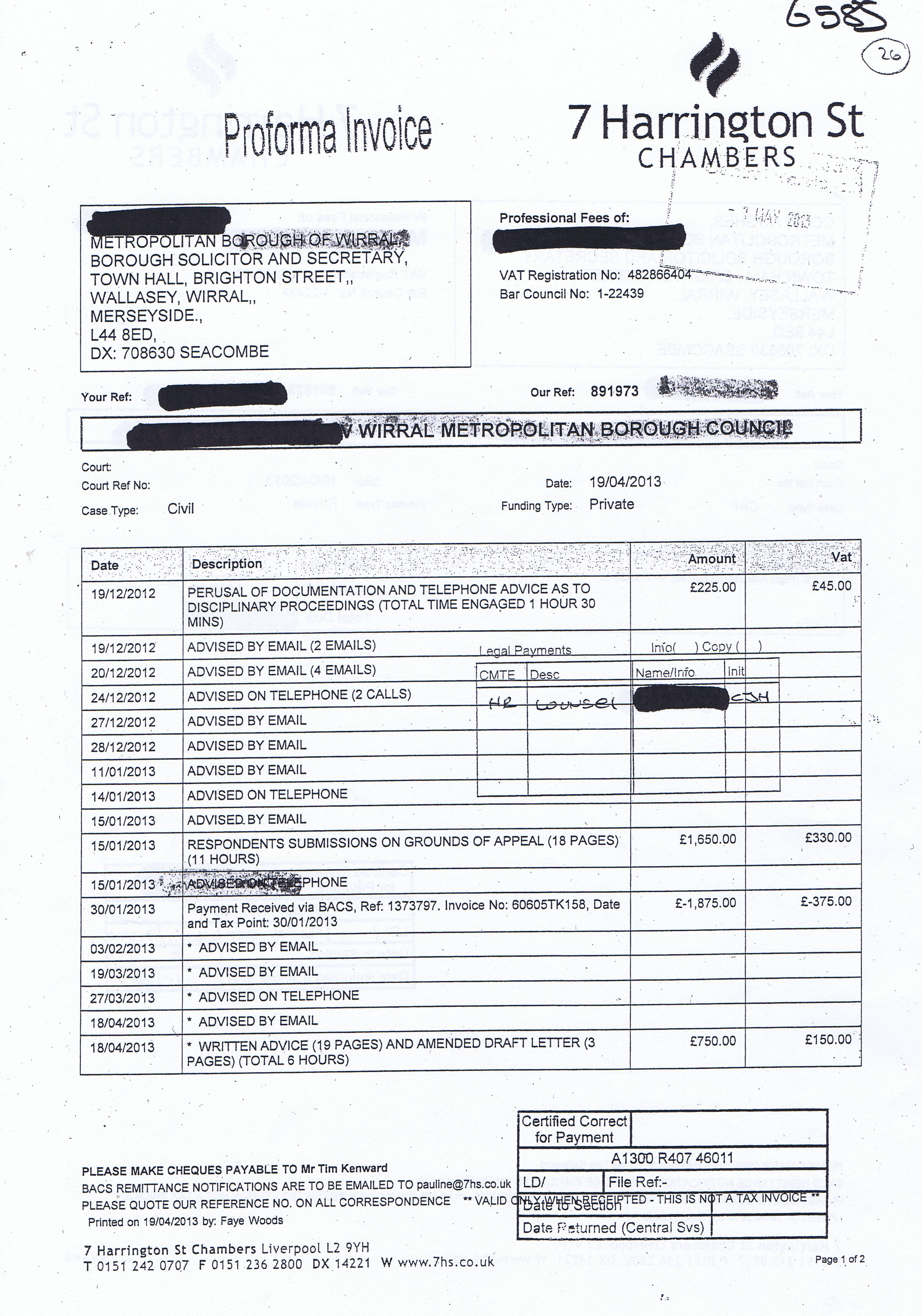 Marvelous Tim D N Kenward Invoice 2 Page 1 Of 2 7 Harrington Street Chambers 19th  April 2013  Written Invoice