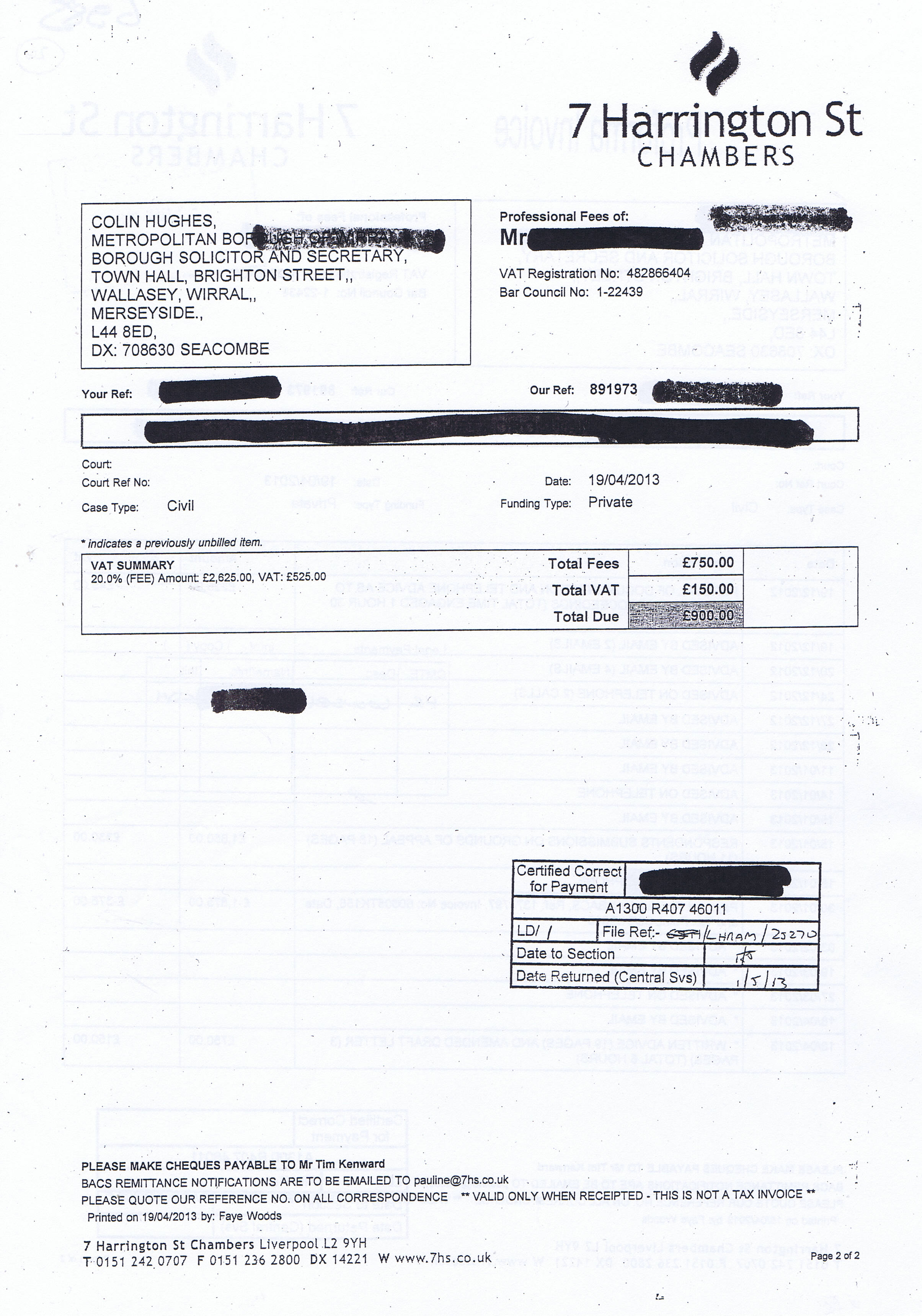 Nice Tim D N Kenward Invoice 2 Page 2 Of 2 7 Harrington Street Chambers 19th  April 2013 Regard To Written Invoice