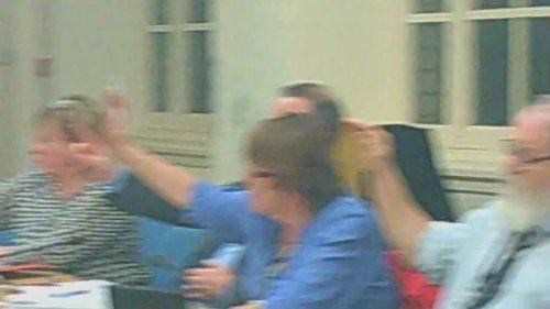 Cabinet 17th December 2014 vote on Lyndale School closure L to R Cllr Bernie Mooney Cllr Pat Hackett Cllr Chris Jones Cllr Adrian Jones