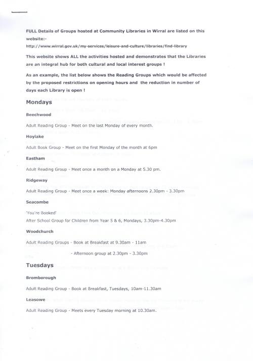 Groups at Community Libraries Page 1 of 3