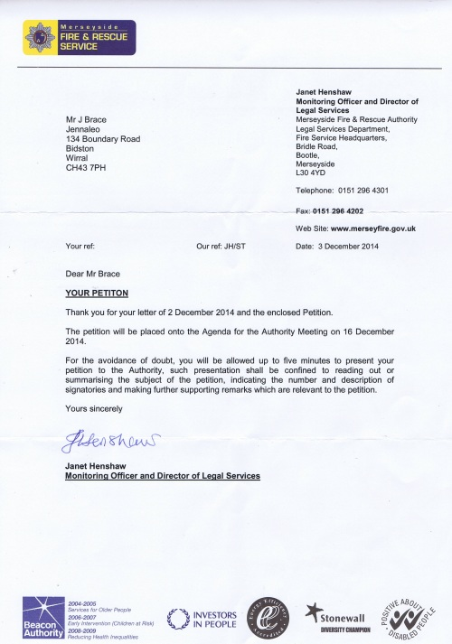 letter from Merseyside Fire and Rescue Authority about filming petition received 6th December 2014