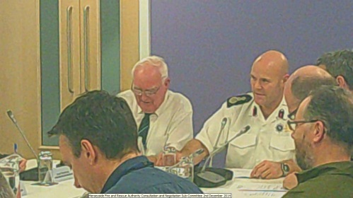 Merseyside Fire and Rescue Authority Consultation and Negotiation Sub-Committee 2nd December 2014 L to R Unknown, Cllr Mahon (Chair), Dan Stephens (Chief Fire Officer), Phil Garrigan (Deputy Chief Fire Officer), Unknown, Cllr Robertson