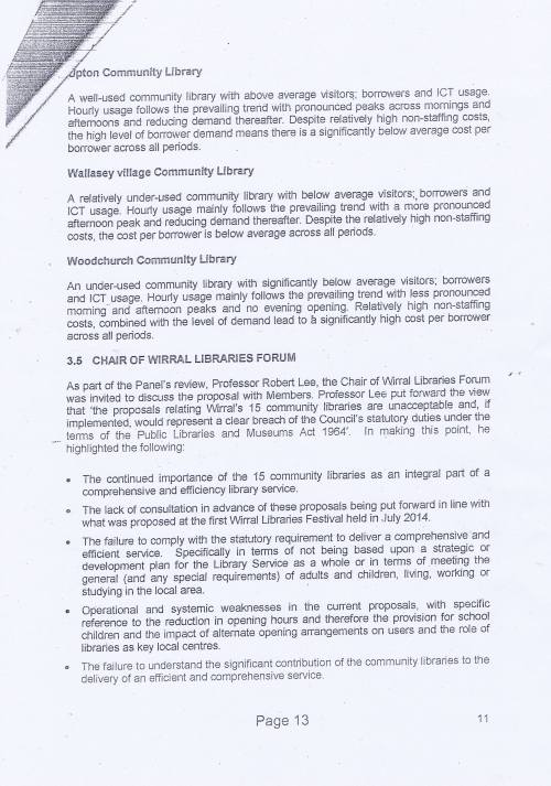Panel Community Libraries budget option Wirral Council page 13