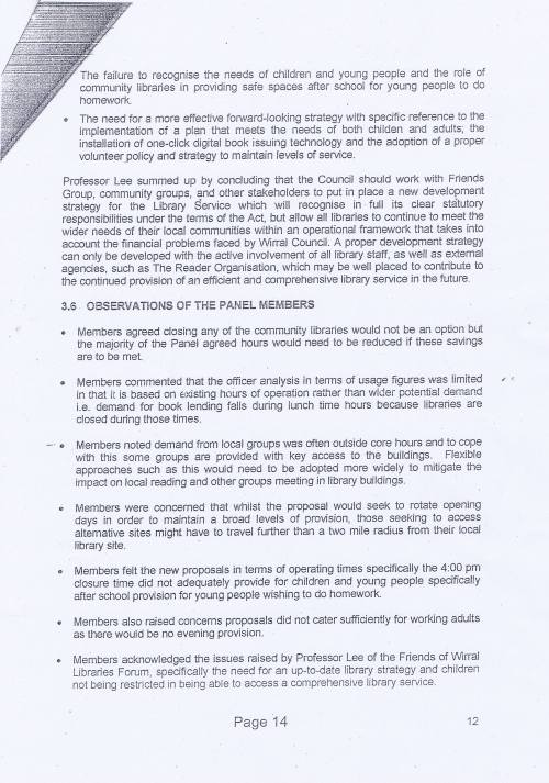 Panel Community Libraries budget option Wirral Council page 14