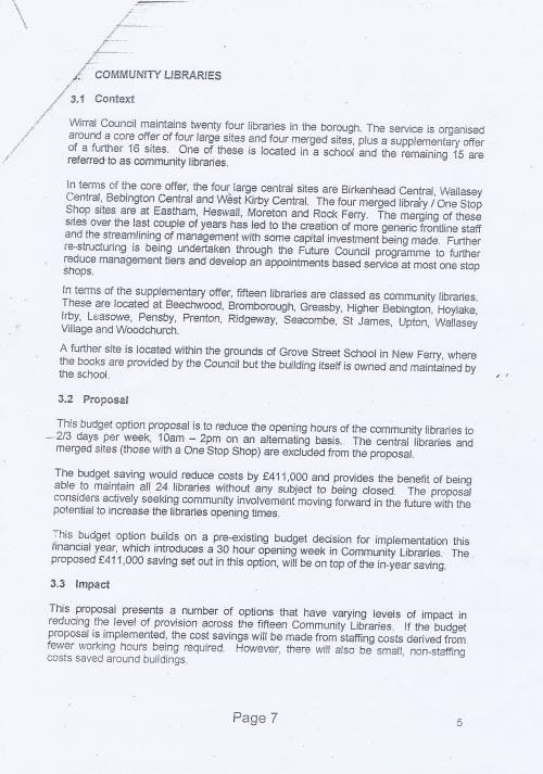 Panel Community Libraries budget option Wirral Council page 7