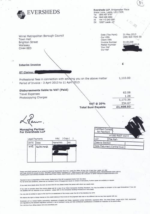 Wirral Council Eversheds £1408.23 21st May 2013 Employment Tribunal claims travel expenses photocopying charges 3rd April 2013 to 11 April 2013