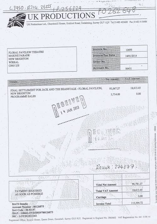 Wirral Council invoice UK Productions Jack and the Beanstalk Floral Pavilion £115934.72