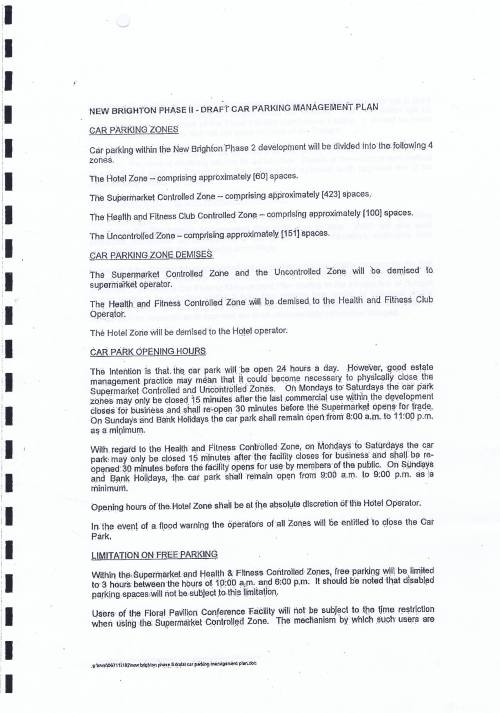 Wirral Council lease Neptune Wirral Limited Neptune Developments Limited Neptune Projects Limited 20th June 2011 for New Brighton Phase II draft car parking management plan page 1 of 2