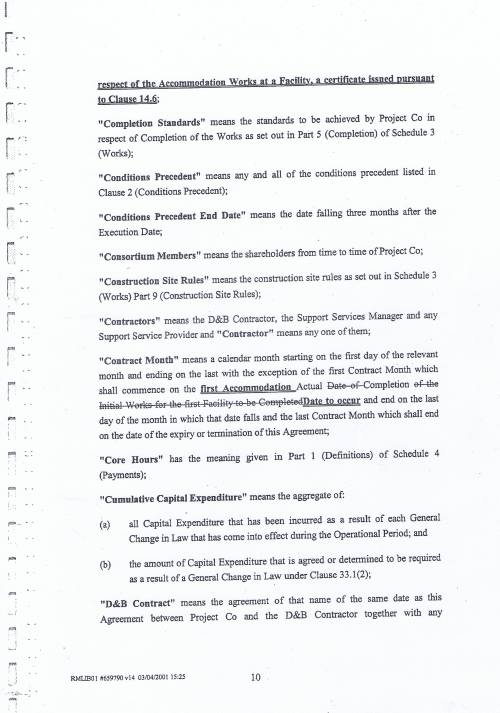 Wirral Council Wirral Schools Services Limited PFI Contract page 10 definitions