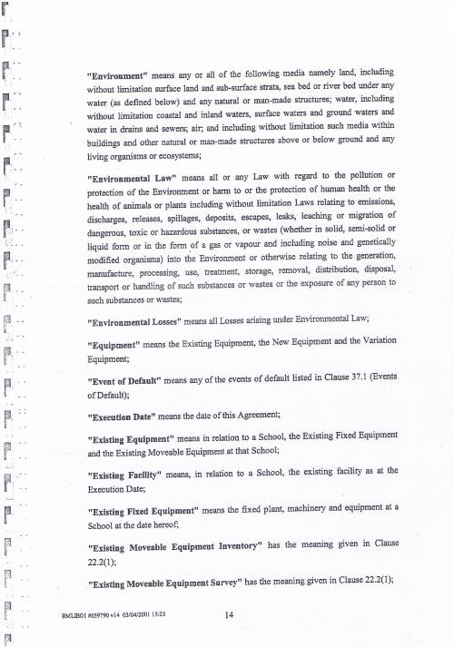 Wirral Council Wirral Schools Services Limited PFI Contract page 14 definitions