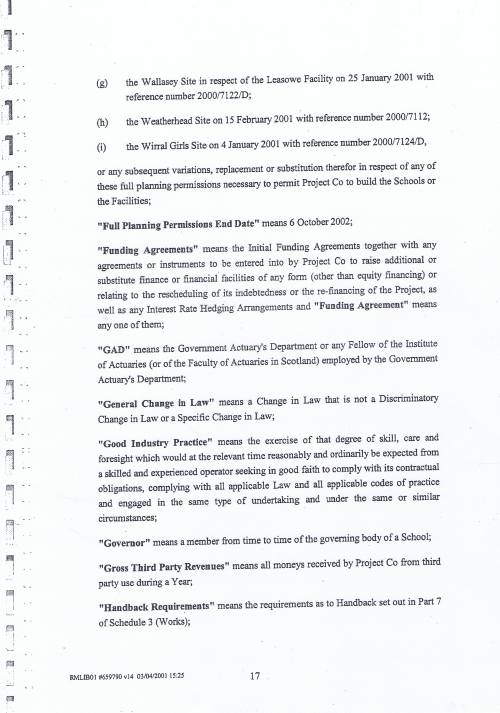 Wirral Council Wirral Schools Services Limited PFI Contract page 17 definitions