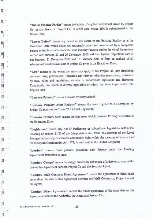 Wirral Council Wirral Schools Services Limited PFI Contract page 20 definitions
