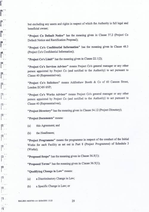 Wirral Council Wirral Schools Services Limited PFI Contract page 29 definitions