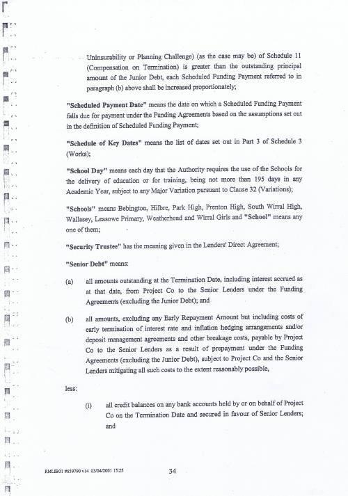 Wirral Council Wirral Schools Services Limited PFI Contract page 34 definitions