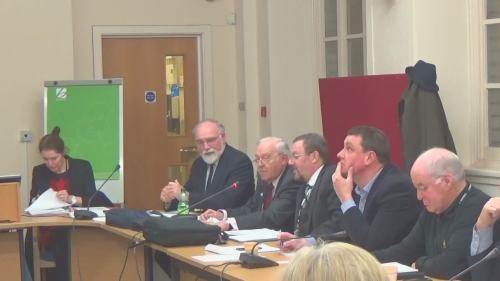 Pensions Committee Wirral Council Merseyside Pension Fund 19th January 2015 L to R Pat Phillips Cllr Geoffrey Watt Cllr Mike Hornby Cllr Chris Carubia Cllr Nick Crofts Cllr Harry Smith