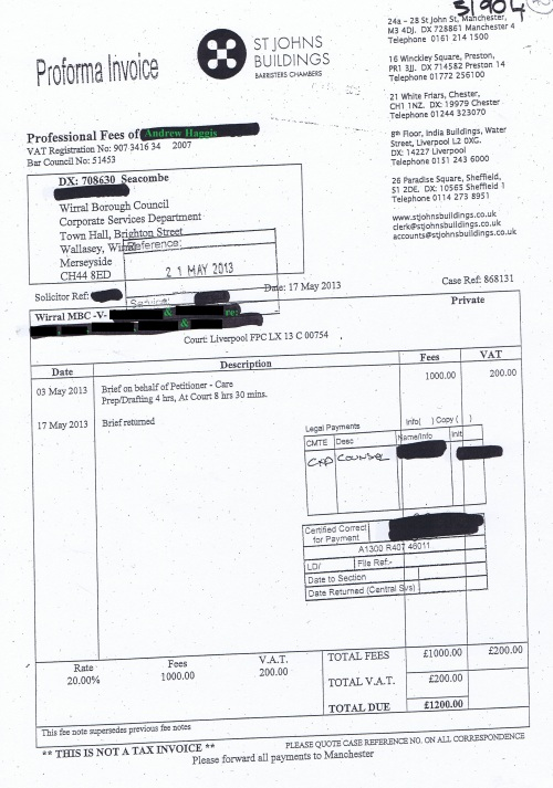 Wirral Council invoice Andrew Haggis St Johns Building 17th May 2013 £1200 40