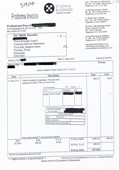 Wirral Council invoice Andrew Haggis St Johns Building 21st May 2013 £576 42