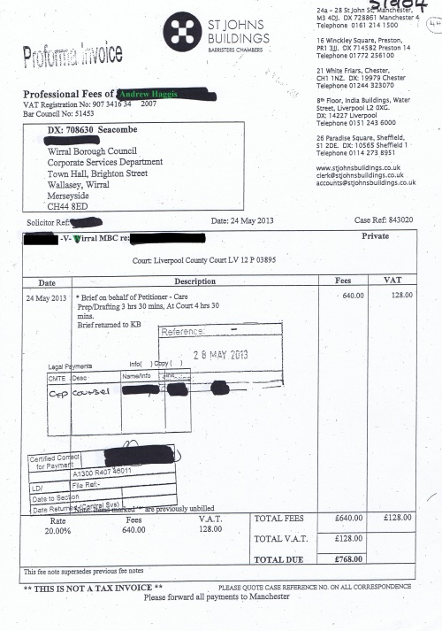 Wirral Council invoice Andrew Haggis St Johns Building 24th May 2013 £768 44