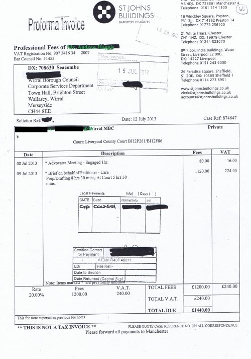 Wirral Council invoice Andrew Haggis St Johns Buildings 12th July 2013 65 £1,440 65