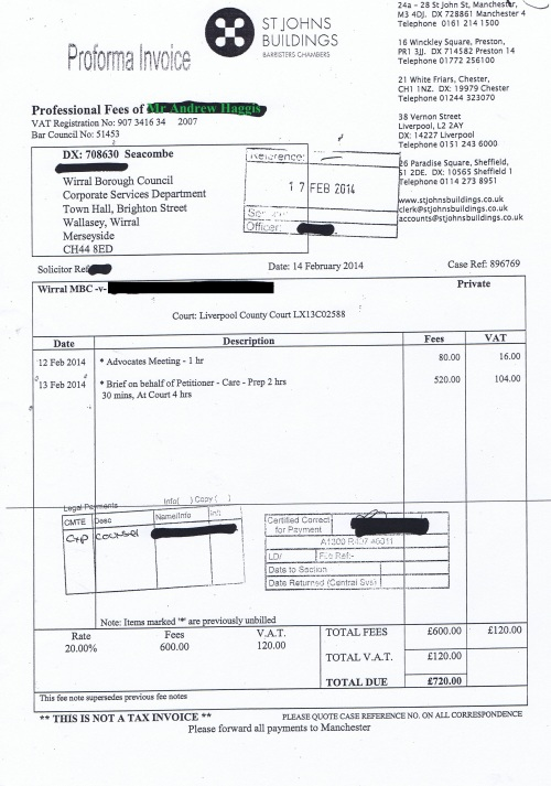 Wirral Council invoice Andrew Haggis St Johns Buildings 14th February 2014 £720 143