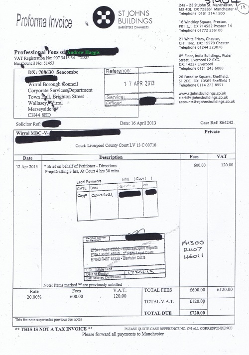 Wirral Council invoice Andrew Haggis St Johns Buildings 16th April 2013 £720 19