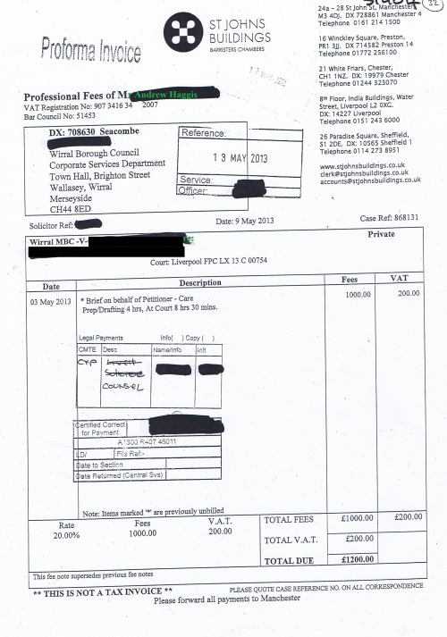 Wirral Council invoice Andrew Haggis St Johns Buildings 9th May 2013 £1200 32