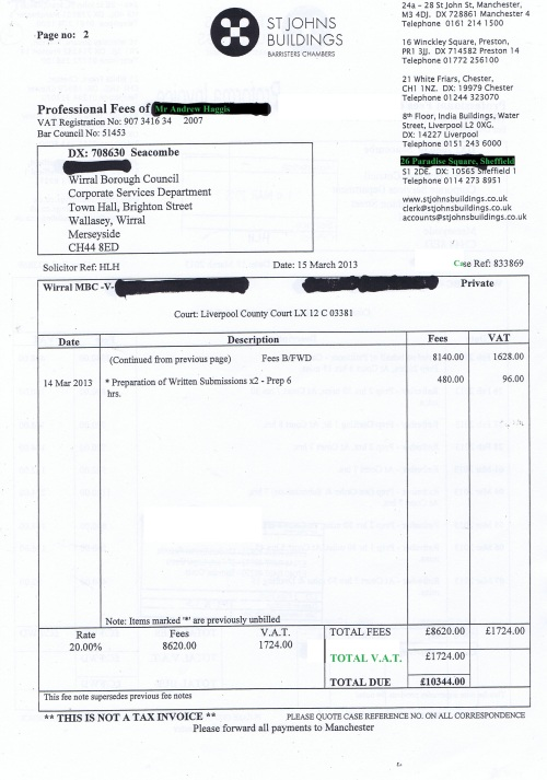 Wirral Council invoice Andrew Haggis St Johns Buildings £10,344 page 2 of 2 15th March 2013 3