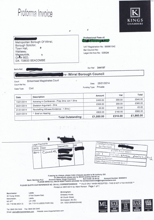 Wirral Council invoice Anthony Gill Kings Chambers 28th January 2014 £1860 141