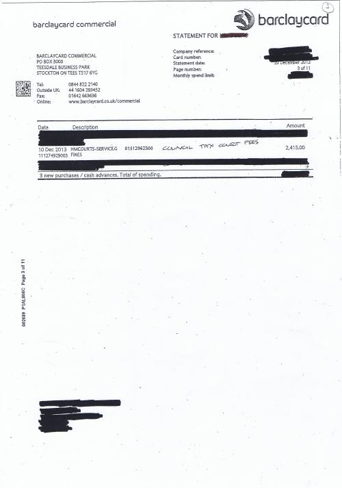 Wirral Council invoice Barclaycard Council tax court fees £2415 20th December 2013