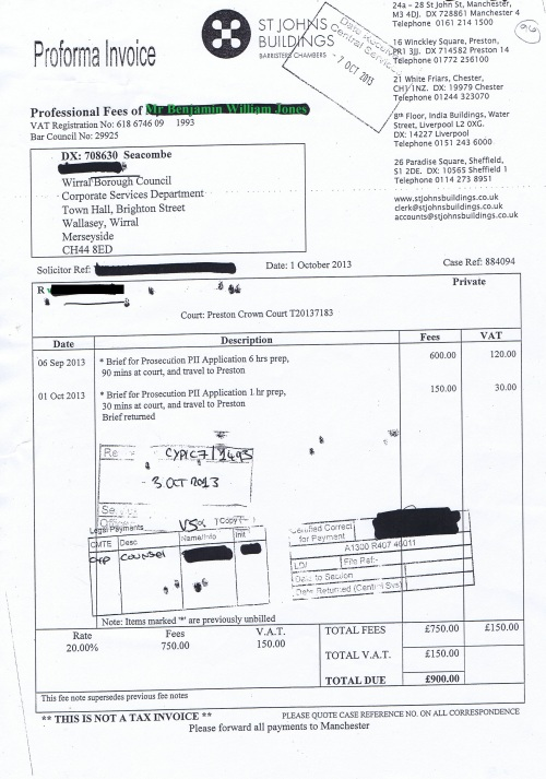 Wirral Council invoice Benjamin William Jones St Johns Buildings 1st October 2013 £900 96
