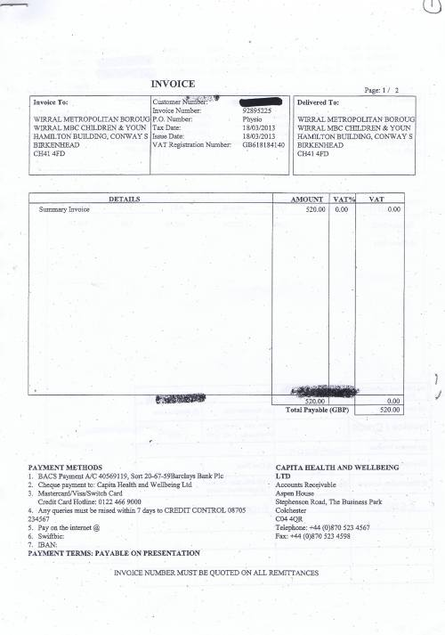 Wirral Council invoice Capita Health and Wellbeing Limited £520 Page 1 of 3 18th March 2013 1