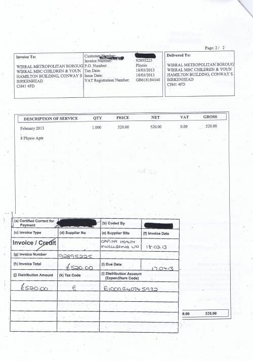 Wirral Council invoice Capita Health and Wellbeing Limited £520 Page 2 of 3 18th March 2013 1