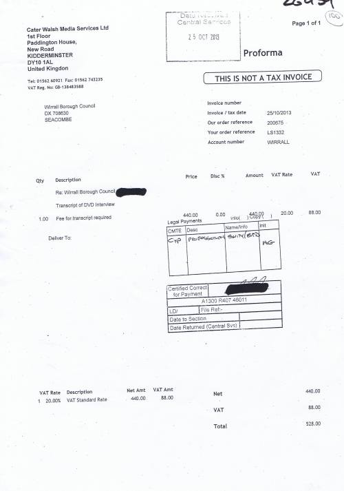 Wirral Council invoice Cater Walsh Media Services Ltd 25th October 2013 £528 100