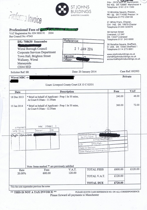Wirral Council invoice Catherine Rimmer St Johns Buildings 20th January 2014 £720 135