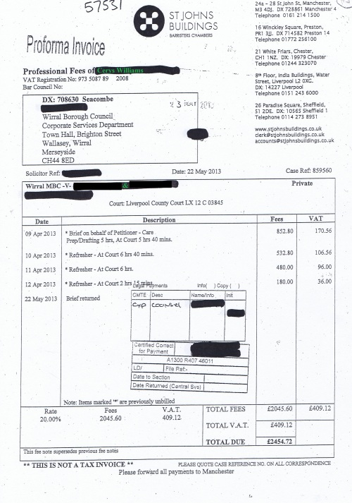 Wirral Council invoice Cerys Williams St Johns Building 22nd May 2013 £2454.72 43