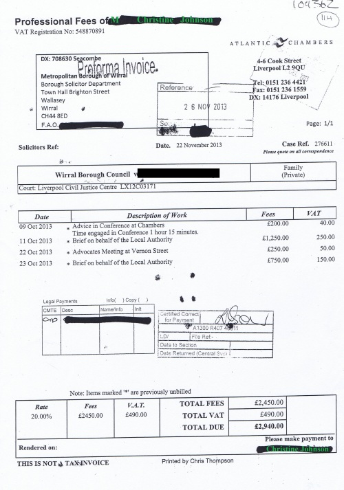 Wirral Council invoice Christine Johnson Atlantic Chambers 22nd November 2013 £2940 114
