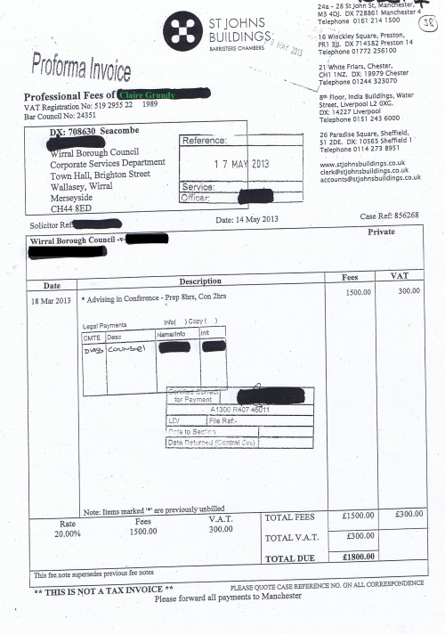 Wirral Council invoice Claire Grundy St Johns Buildings 14th May 2013 £1800 38