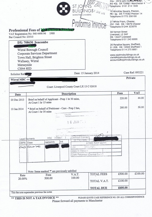 Wirral Council invoice Damien Sanders St Johns Buildings 15th January 2014 £600 132