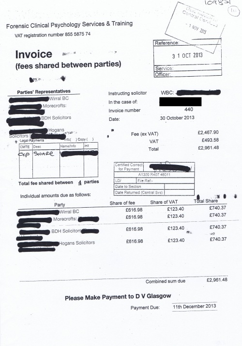 Wirral Council invoice David V Glasgow 30th October 2013 £740.37 111